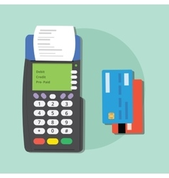 Pay credit card merchant machine debit tools vector