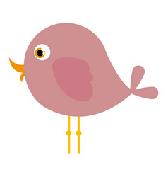 Pink cute cartoon bird animal icon vector