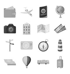 Rest and travel set icons in monochrome style Big vector image vector image
