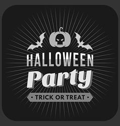 Retro vintage halloween badge black and white vector