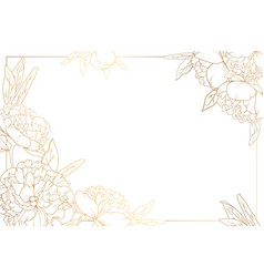 rose peony border frame decorated corners golden vector image vector image