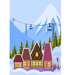 Small ski resort vector