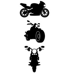 Three motorcycle silhouettes vector