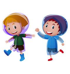 Two boys wearing raincoat vector