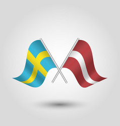 Two crossed swedish and latvian flags vector