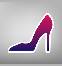 Woman shoe sign purple gradient icon on vector