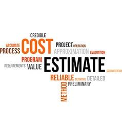 Word cloud cost estimate vector