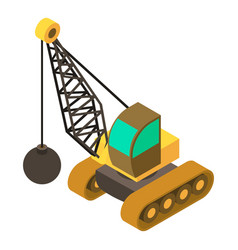 Wrecking ball crane icon isometric 3d style vector