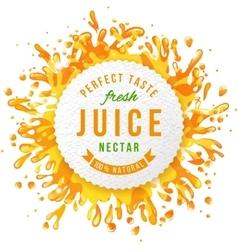 Paper emblem with juice splashes vector