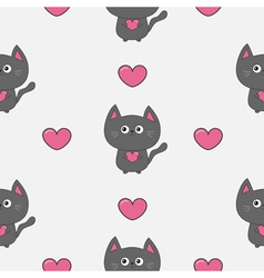 Gray contour cat holding pink heart set Kawaii vector image