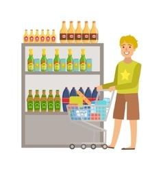 Guy shopping for alcoholic drinks shopping mall vector