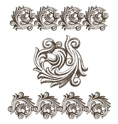 Baroque elements drawn by hand vector