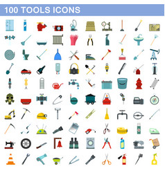 100 tools icons set flat style vector image
