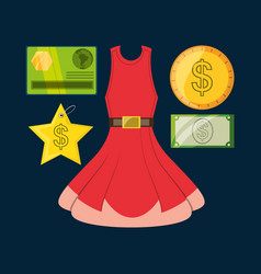 Set icon dress credit card and cash money shopping vector