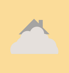 Flat icon on stylish background house covered with vector