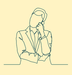 businessman thinking thoughtful man outline vector image