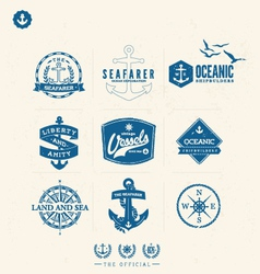 Nautical badges and labels vector