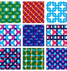 Set of multicolored grate seamless patterns with vector image