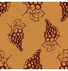 Seamless pattern with hand drawn decorative grapes vector