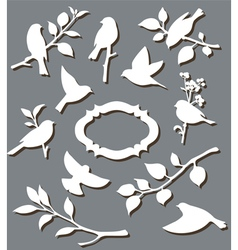 Set of paper birds vector
