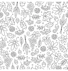 Seamless pattern with grapes acorns leaves and vector