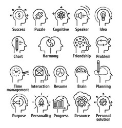 Stroke line pictogram icons set of human brain vector