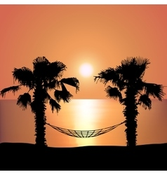 Sunset on the beach on hammock vector
