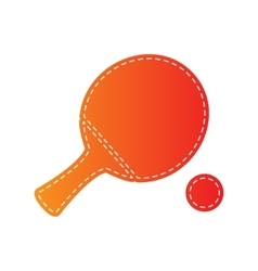 Ping pong paddle with ball orange applique vector