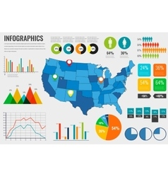 Usa map with Infographics elements Infographics vector image