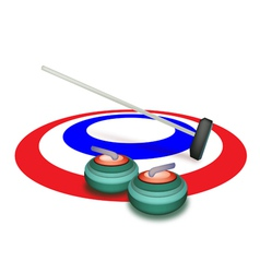 A collection of curling stones on ice vector
