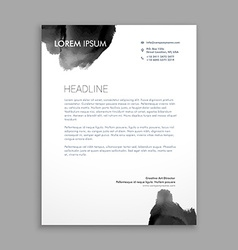 Abstract black ink letterhead design vector