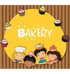 Bakery theme with children and cupcakes vector