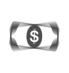 Bank note dollar sign gray icon shaked at vector