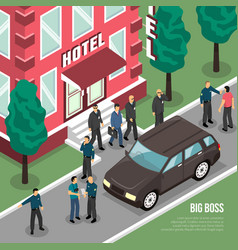 Big boss with security isometric vector