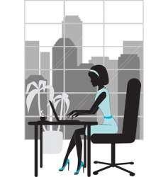 Business woman in office silhouette vector