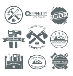 Carpentry label set vector