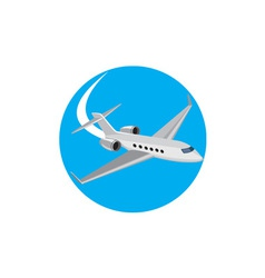 Commercial light passenger airplane circle retro vector