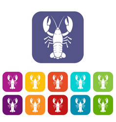 Crawfish icons set vector