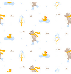 Cute bear and duck ice-skating on pond seamless vector