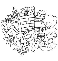Doodle art hand draw thanksgiving vector