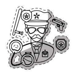 Figure policeman with his tools icon image vector