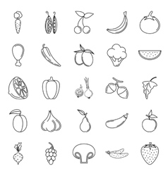 Food Icon set Vegetables and meat on white vector image