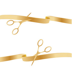 Golden scissors cutting ceremony ribbons vector