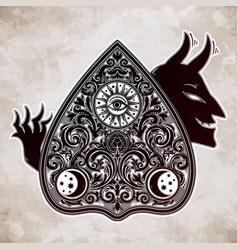 hand drawn vintage magic ouija devil board oracle vector image