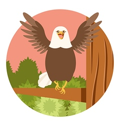 Happy eagle on the tree flat background vector