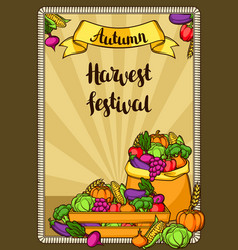 Harvest festival poster autumn with vector