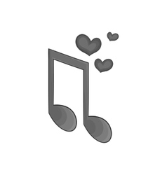 Love heart music note icon vector image