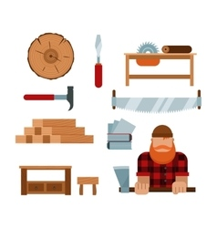 Lumberjack cartoon tools icons vector image vector image