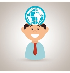 man and world isolated icon design vector image