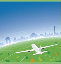 New delhi skyline flight destination vector